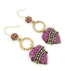 Betsey Johnson Earrings Pink Pave Dangle Heart